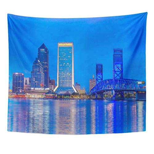 Semtomn Tapestry Artwork Wall Hanging Watercolor Downtown Jacksonville Florida at Twilight Skyline Artistic Cityscape 50x60 Inches Tapestries Mattress Tablecloth Curtain Home Decor Print ()