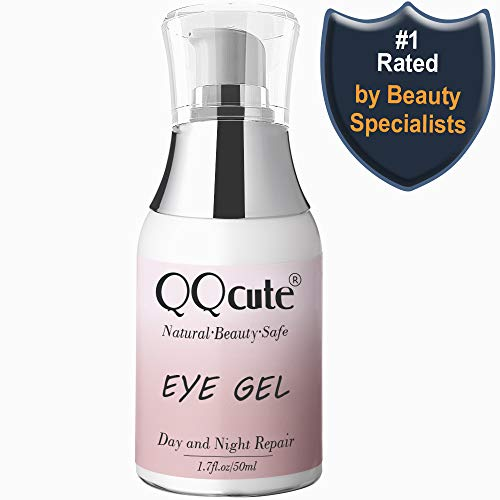 Eye Gel, QQcute Day & Night Anti-Aging Eye Treatment Cream for Wrinkle, Dark Circle, Fine Line, Puffy Eyes, Bags Best Hydrogel Eye Moisturizer for Women Mother's Day Gift - 1.7 fl oz. (Best Under Eye Cream For Mens Dark Circles 2019)