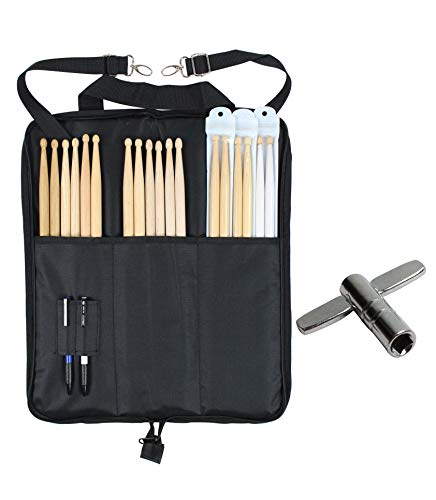 YMC DSB10-BK 10mm Foam Drum Stick Bag Holder Mallet Bag Drumstick Bag with A Drum Key -Black