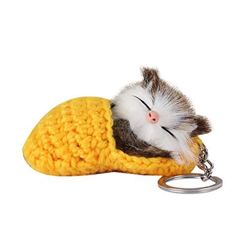 Orcbee  _Cute Temperament Sleep Kitten Hair Ball Key Ring Woollen Slippers Cat Pendant (Yellow) ()
