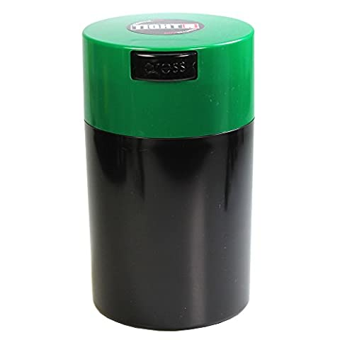Tightvac - 1 oz to 6 ounce Airtight Multi-Use Vacuum Seal Portable Storage Container for Dry Goods, Food, and Herbs - Dark Green Cap & Black (Tightvac 4 Ounce)
