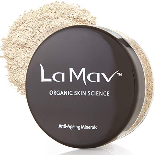 La Mav Foundation Powder Makeup LIGHT – Chemical-free, Anti-Aging Mineral Foundation, Concealer, SPF 15 and Powder All-in-one – Light or Buildable Coverage – Long Lasting, Water Resistant Formula