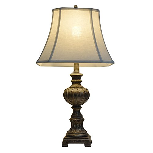 Traditional Table Lamp with Square-Cut Corner Faux Silk Shade in Antique Silver (Jimco Table Lamp)