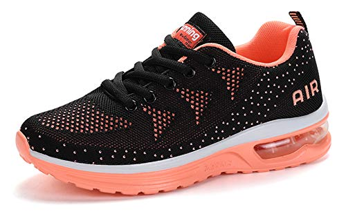 women sport trail running shoes 2019 summer air cushion flyknit breathable comfort athletic walking shoes ladies youth girls tennis shoes gym workout fashion sneakers Pink Size 8.5 (A35-Pink-40)