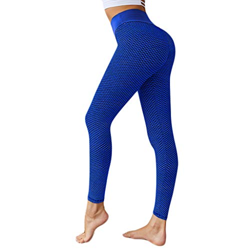 SPORTTIN Sexy Yoga Pants Mesh High Waist Tummy Control 4 Way Stretch Fitness Workout Running Leggings(Blue,US Size S = Tag M)