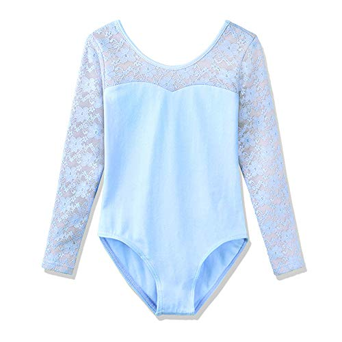(BAOHULU Girl's Classic Floral Lace Long Sleeve Leotards B193_Blue_M)