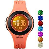 Kids Digital Watch, Boys Sports Waterproof Led Watches with Alarm Wrist Watches for Boy Girls Children Orange Black