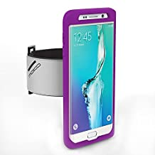 Galaxy S6 edge+ Armband, MoKo Silicone Armband for Samsung Galaxy S6 edge+ 5.7 Inch 2015 release - Key Holder Slot, well-rounded protection, Perfect Earphone Connection while Workout Running, PURPLE