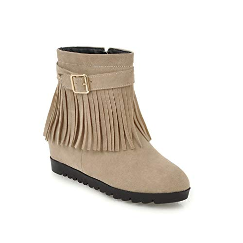 ChyJoey Womens Flat Zipper Ankle Boots Wedge Round Toe Platform Buckle Fringe Winter Suede Short Booties