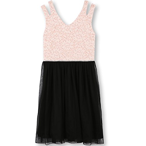 Speechless Big Girls' Glitter Lace to Tulle Dress, Blush Black, 8 by Speechless