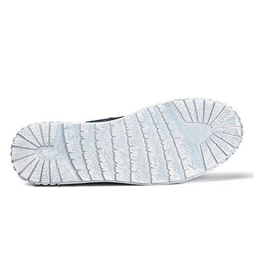 Enllerviid Heren Slip Op Casual Canvas Sneakers Comfort Rijden Instappers Mode Bootschoenen 025 Donkerblauw