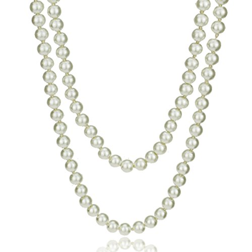 MeliMe Women's White Gray Simulated Pearl (8mm) Strands Necklaces Long Sweater Chain Pearl Bead Necklaces Wedding Party Jewelry, 61 Inches ()
