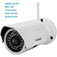 Funxwe 1080P Full-HD 2.0 Megapixel Wireless WiFi IP Network Camera Audio In/Out Onvif H.264 Motion Detection Outside Weatherproof TF SD Card