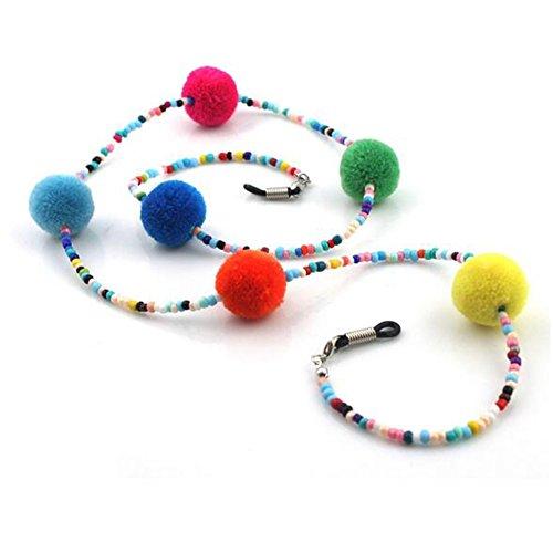 Imixlot Colorful Beaded & Ball Glasses Sunglasses Anti-Skidding Neck Chain Decorated