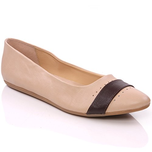 Shoes Beige Pumps Slipon Flat Pier' Unze Womens Chic wf0fYq