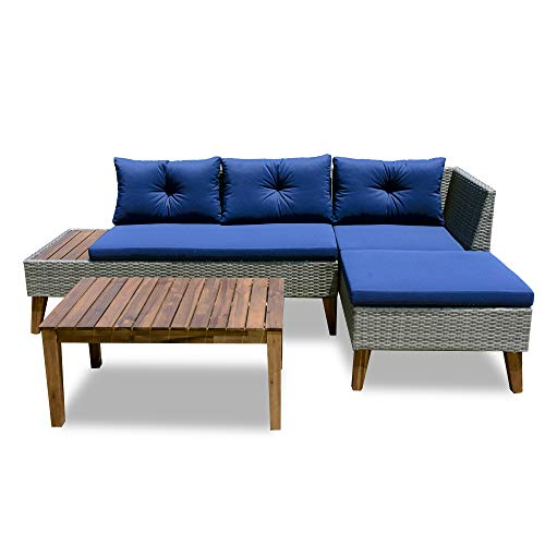 Patio Furniture Set – 3 Piece Outdoor Sectional Sofa Manual Weaving Wicker Rattan Patio Conversation Set, Blue Cushion and Solid Wood Table (Grey)