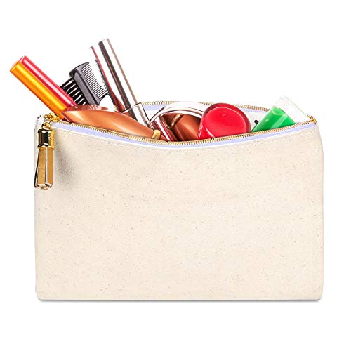 Canvas Makeup Pouch Cosmetic Bag Organizer Large Pen Pencil Case Coin Purse Storage Pouch with Metal Zipper and Tassel for Travel,School,Office,Festival,Birthday (Gold)