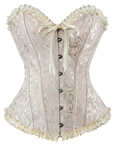 (AVITMOS Corsets Sexy Women's Plus Size Corsets and Bustiers Overbust Gothic Strapless Brocade Corselet Clothing Ivory)
