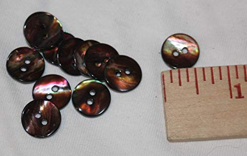 Lot 1 Dozen Mother of Pearl 2 Hole Dark Brown Iridescent Sewing Buttons MOP g22