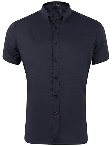 Stretch Silk Shirt - XI PENG Men's Summer Short Sleeve Solid Cotton Flex Stretch Fit Dress Shirts (Black, Large)
