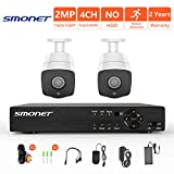 [4CH Expandable]Security Camera System Outdoor,SMONET 4CH 1080P 5-in-1 HD DVR Surveillance Camera System,2pcs 2MP Weatherproof Security Cameras,P2P,Free APP,Remote View,Motion Detection,NO Hard Drive