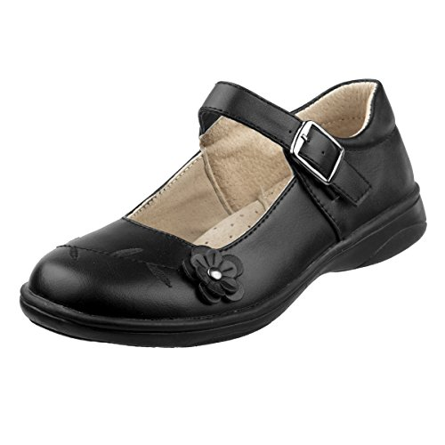 Black Leather School Shoes (Laura Ashley Girls School Uniform Shoes with Elastic Gore Buckle, Black Flower, 4 M US Big Kid')