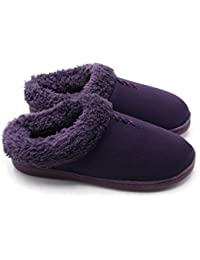 Women's Warm Clog Slippers,Memory Foam Indoor/Outdoor Hard Bottom Rubber Soles Slippers with Back for Women