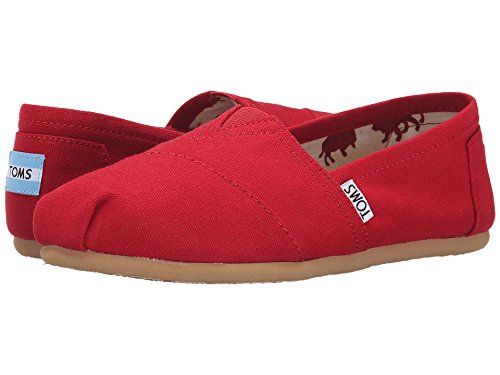 Toms Women's Classic Canvas Red Slip-on Shoe - 7.5 B(M) US (Red Tom)