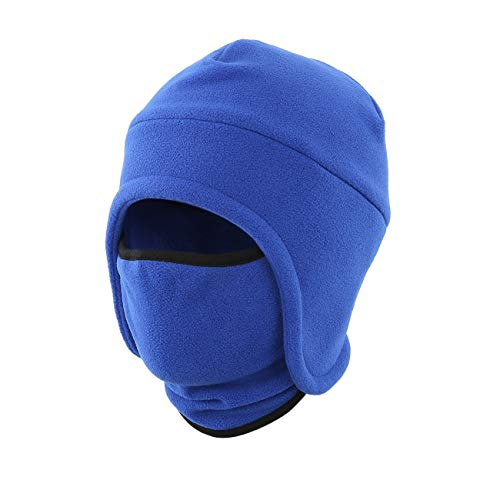 LLmoway Men Skull Beanie Winter Warm Fleece Earflap Hat with Ski Mask Outdoor Windproof Hat Blue