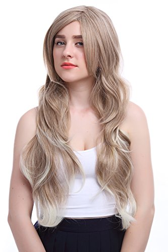 Nuoqi Women's Fashion Long Hair Curly Layer Mix Blonde Brown Wig