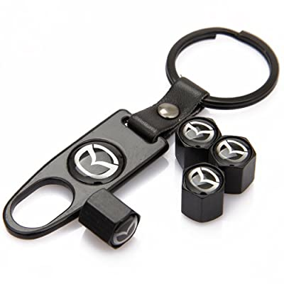 CzlpV Black Car Wheel Tire Valve Caps Tyre Stem Air Caps Keychain Styling For MAZDA: Automotive