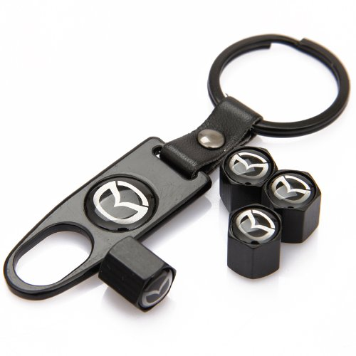 CzlpV Black Car Wheel Tire Valve Caps Tyre Stem Air Caps Keychain Styling Mazda
