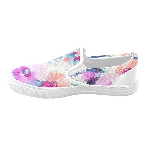 D-Story Flower Womens Slip-on Canvas Shoes Skate Shoes Canvas Loafer Shoes eqRkwJ