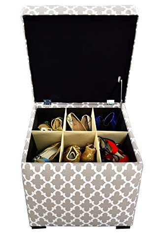 Cheap The Sole Secret Mini Shoe Storage Ottoman, 18.5 x 19 x 19 inches, Fulton Series in Ecru