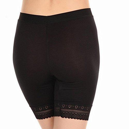 FakeFace Arnés de seguridad Modal transpirable Slip gran tamaño en prenda-Pantalón corto para mujer, diseño de niña con lazo de encaje y Leggings Underwear Comfortable suave negro