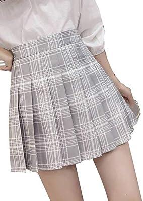 HEHEAB Falda,Acetato Gris Claro, Algodón Colegiala A Cuadros Faldas Plisadas Mujeres Verano De Cintura Alta Mini Falda Chica, M: Amazon.es: Deportes y aire libre