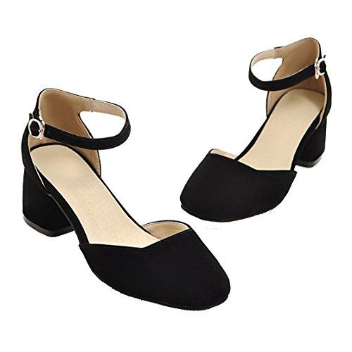 AIYOUMEI Damen Wildleder Blockabsatz knöchelriemchen Pumps mit 5cm Absatz und Schnalle Modern Schuhe Schwarz