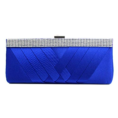 HOZMLIFE Luxury Satin Evening Bag Clutch Women Rhinestone Evening Bag Party Purse Wedding Handbag Shoulder with Chain Strap -