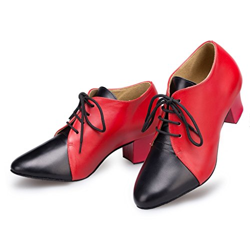 Meijili Women's Latin Dance Closed Toe Leather Lace Up Shoes Red 5hgaGe