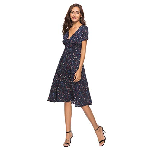 Print Falda Summer Beach Dress Navy NREALY Floral Neck Party Holiday V Womens Dress Ladies nYdCqwFH