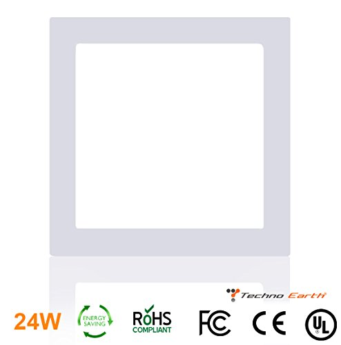 Techno Earth 24W Dimmable Square Ceiling Panel Led Ultra Thin Glare Light Kits with Led Driver AC 85-265V - Warm White by Techno Earth
