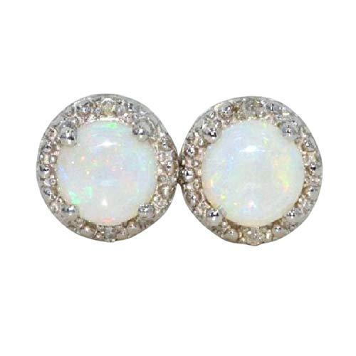 14Kt White Gold Genuine Opal & Diamond Round Stud Earrings ()