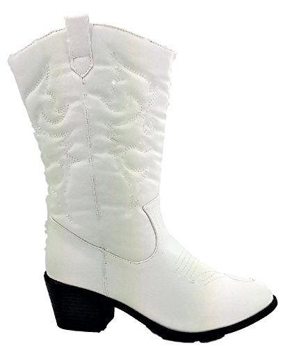 Karyns Collection BDW-14W Western Cowboy Cowgirl Mid Calf Pointed Toe Stitched Boots White White RYsrO