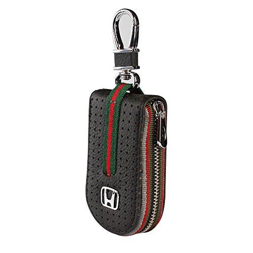 (Leather Car Smart Key Chain Universal Key Holder Bag Black Zipper Case Cover Wallet Bag Shell Fob Ring (Honda))