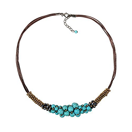 Zonman Handmade Jewelry Set Pretty Tibetan Style Turquoise Necklace with Match Earrings ... (Green Necklace)