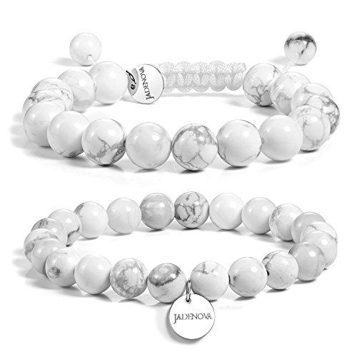(JADENOVA 8/10mm Natural White Howlite Gemstone Bracelets Round Beads Stretch Bracelet Adjustable Beaded Bracelet Couple Distance Bracelets Unisex (2pcs Bracelet Set))