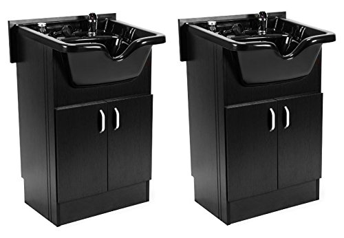 DUO Shampoo Cabinet SANDEN BLACK w Faucet, Bowl, Drain for Beauty Salon and Spa by BERKELEY