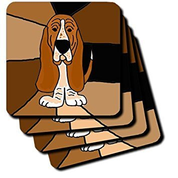 3dRose cst_195224_3 Funny Basset Hound Puppy Dog Art-Ceramic Tile Coasters, Set of - Dog Tile Coaster Ceramic
