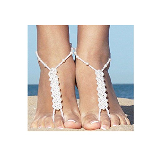 rl Anklet with Ring Bracelet Beach Wedding Barefoot Sandal Ankle Chain Foot Jewelry ()