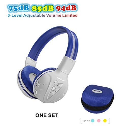 SIMOLIO Kids Bluetooth Headphone with 75dB 85dB 94dB Volume Limited, Kids Wireless Headsets with Mic, Wireless Headphones for Kids, Bluetooth Boys Headphones with Hard case for School,Travel Grey